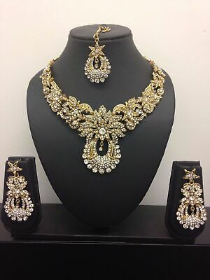 Silver Costume Jewellery Necklace Earring Tikka Set Party Wear