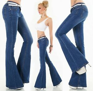 Donna-Jeans-Svasati-Pantaloni-Ampia-Scossa-Taglio-a-Zampa-di-Elefante-Denim