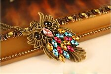 Vintage Retro Rhinestone Colorful Owl Pendant Long Chain Necklace Jewellery