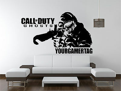 Call Of Duty Ghosts Sniper personalised -  wall art sticker decal kids room