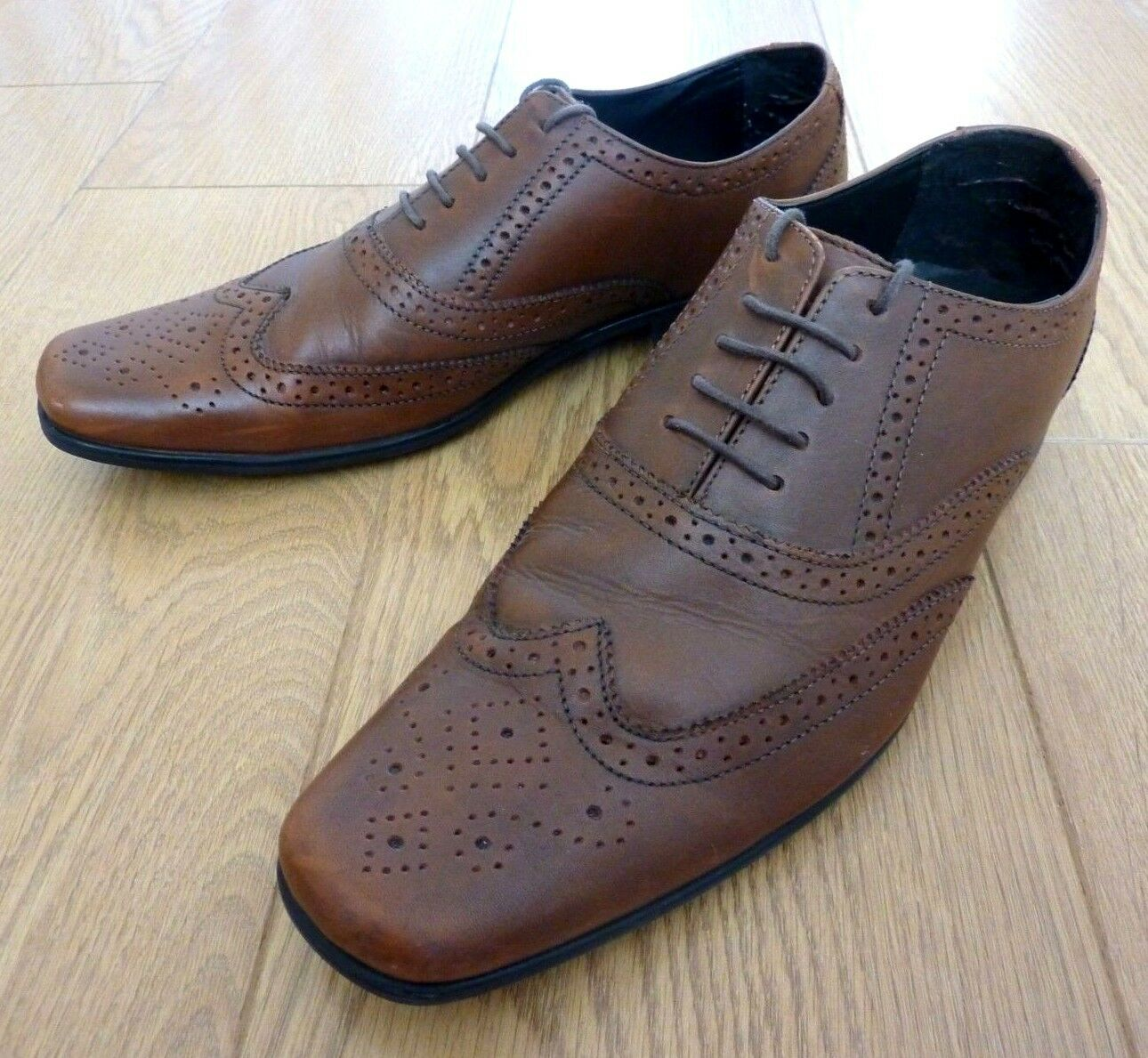 Marks & Spencer Collection uomo Brogues Oxford Formali in Pelle Marrone Tg