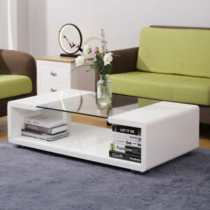 Details About Modern High Gloss White Coffee Tea Table Desk Tempered Gl Living Room Office