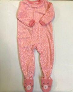 Sleepwear Pre-owned Carters Girl's Microfleece Sleeper Pajamas Pink-18m Discounts Price