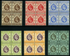 Hong Kong 1907- 11' R19 KE VII 1c to 50c (6 values) Block of 4 MNH OG