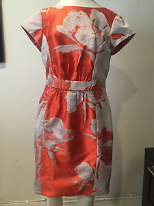 6f7d5ad0bba4a Image is loading Preowned-CAROLINA-HERRERA-Orange-and-Ivory-Floral-Dress-