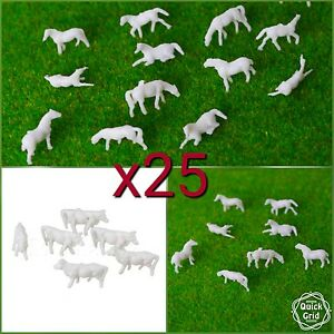 Actif 25/50x Animal White Cow Horse Model Railway Train 1:150 Figure N Gauge 13-17mm