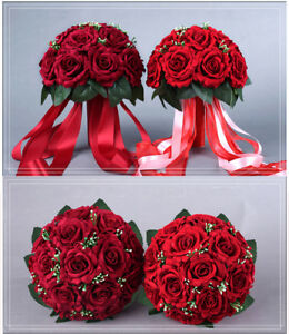 Satin Red Roses Wedding Bridal Bouquet