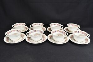 Wedgwood-Cornflower-AK8023-Shell-Edge-Set-of-8-Cups-amp-Saucers