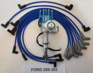 FORD 289 302 BLUE SMALL CAP HEI DISTRIBUTOR 8.5mm SPARK PLUG WIRES USA MADE