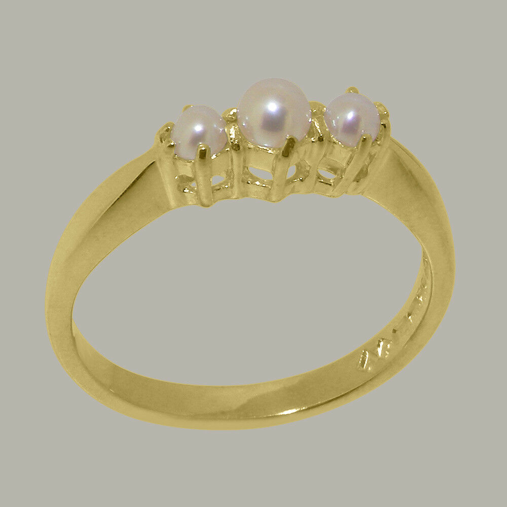 Solid 10k Yellow gold Cultured Pearl Womens Trilogy Ring - Sizes 4 to 12