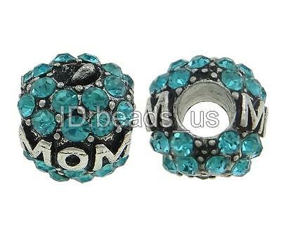 DIY Drum Antique Silver Plated Letter(MOM) European Beads For Charm Bracelet