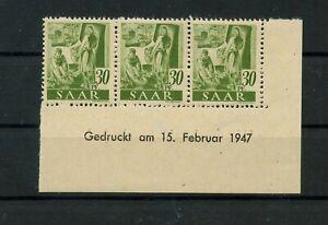 Germany-Saar-Saarland-vintage-yearset-1947-Mi-217-Z-Br-Mint-MNH