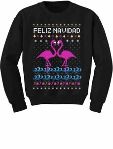 4cb3590dde5 Feliz Navidad Flamingo Ugly Christmas Sweater Youth Kids Sweatshirt Xmas  Present