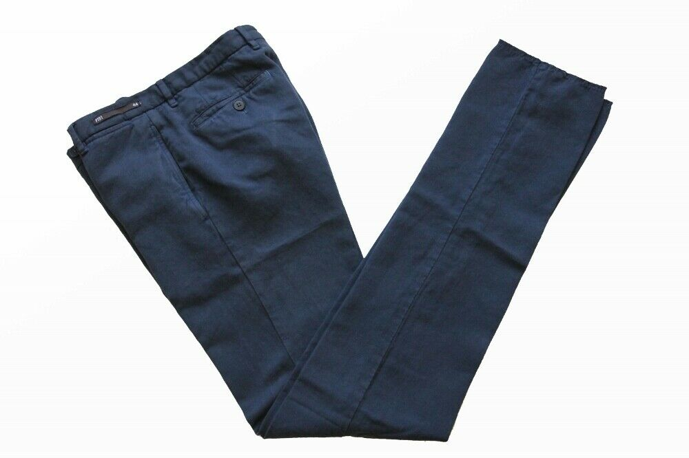 PT01 Trousers: 29/30 (IT 44) Washed navy blue flat front cotton/linen