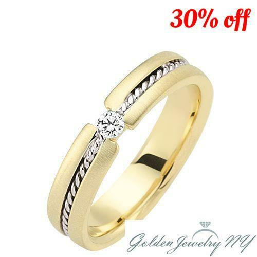 Mens Womens Diamond Wedding Ring in 14K gold, 6mm Wide, 0.10 Carat Comfort Fit.