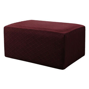 Storage Ottoman Stool Cover Footstool Stretch Grid Slipcover