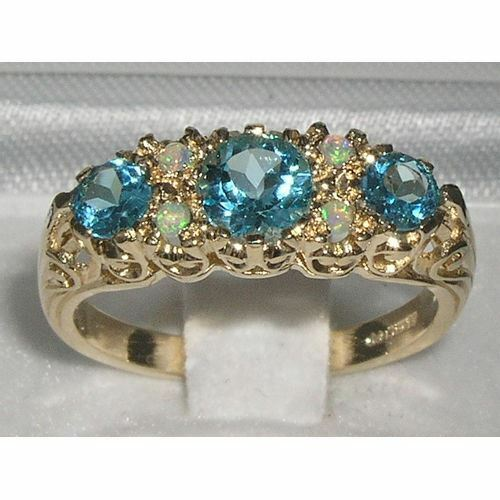Luxury Solid 9ct Hallmarked gold bluee Topaz & Opal Victorian Style Ring