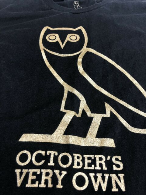 4d633817c Octobers Very Own T Shirt Drake OVO Black Gold Owl Hip Hop Music Tee Medium  M