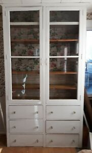 Details about ANTIQUE VINTAGE HOOSIER/ BUTLER PANTRY KITCHEN CABINET  PAINTED WE SHIP!!