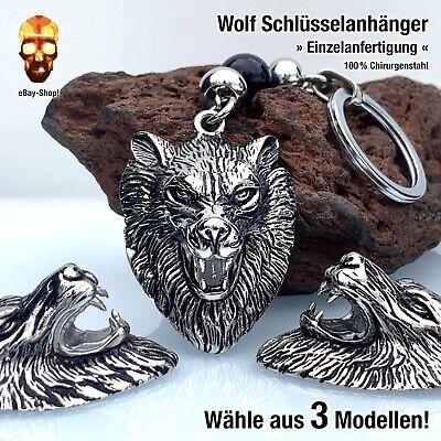 Wolf Schlüsselanhänger Herren Edelstahl Wikinger Keltischer Odin Schmuck Kette