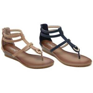 afdb5314181 Details about 19 SIKETU Women Bohemian Rhinestone T-strap and Ankle Strap  Comfort Wedge Sandal