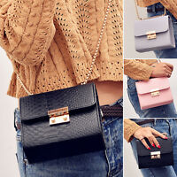 Women's Ladies Chain Cross Body Shoulder Handbag Bags Leather Purse PU Satchel