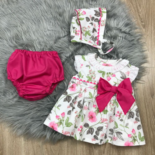 Girls Spanish Dress /& Bonnet Set Floral Spanish Baby Dress Spanish Baby Clothes