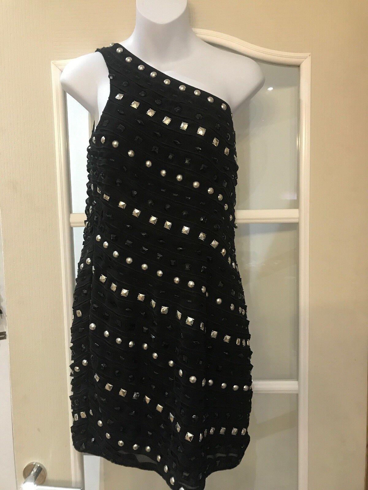 Warehouse schwarz One Shoulder Embellished Dress Stud Detail Größe 10 BNWT
