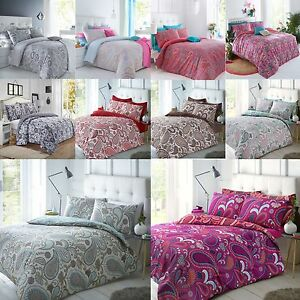 Paisley-Duvet-Bedding-Quilt-Cover-amp-Pillowcase-Set-Single-Double-King-Grey-Coral