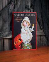 Scare Up Some Fun Vintage Style Girl In Robe 16 X 10 Lighted Halloween Canvas