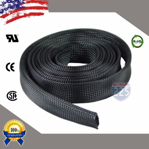 10 FT. 1 Black Expandable Wire Cable Sleeving Sheathing Braided Loom Tubing US