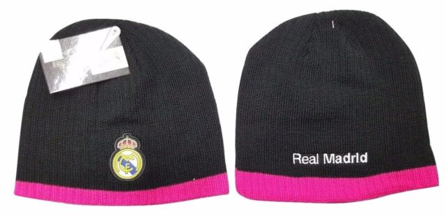 Real Madrid FC Women s Skull Cap Beanie Hat in Black and Hot Pink  253e8a00e
