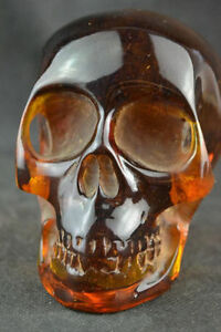 11-5-cm-Collectible-Decorate-Handwork-Old-Burmese-amber-carving-skull-statue