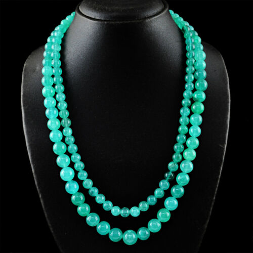 610.00 cts Natural 2 Strand Vert Onyx Forme Ronde Perles Collier-NK 14 MI6