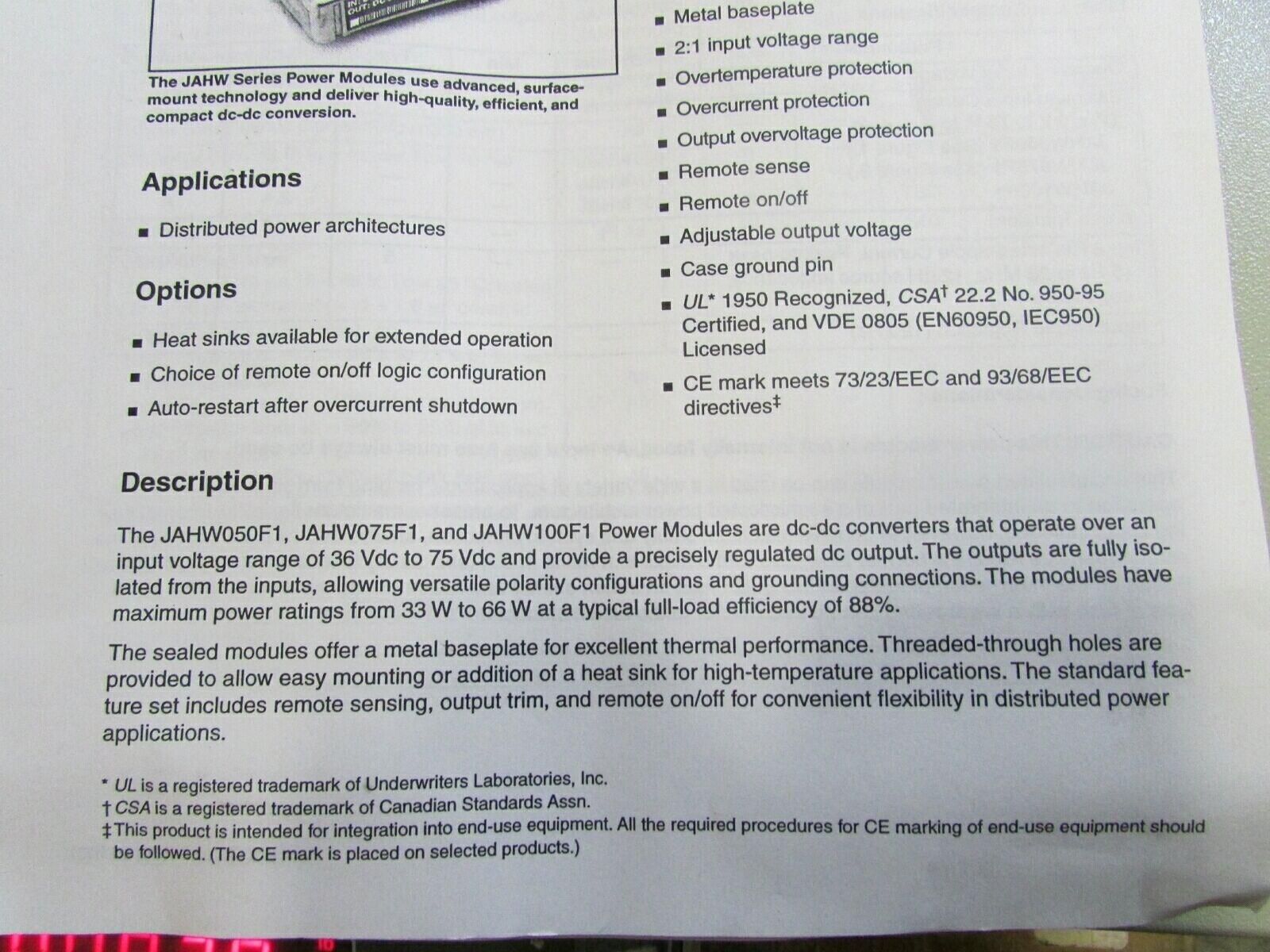 Jahw100f1 Lucent Voltage Converters Dc 36 75v 22a In 33v 20a Out Logic Overvoltage Protection 66w Ebay