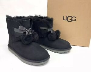 f61887973a3 Details about UGG Australia GITA Black SUEDE POM POM BOOTS Girls 6 fits  Womens size 8 1017403
