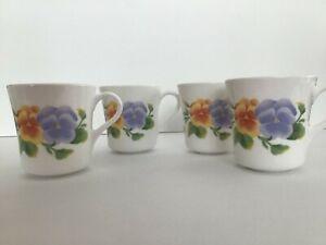 Corning-USA-Summer-Blush-Coffee-Cup-Mug-Blue-Pink-Yellow-Flowers-Set-of-4