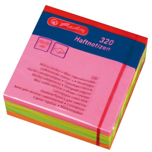 75x75mm 320 Blatt Herlitz Haftnotizblock 4 verschiedene Neonfarben