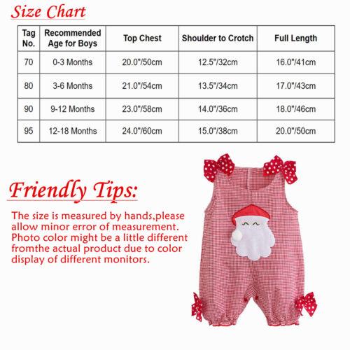 US Baby Girls Romper Christmas Outfits Santa Claus Plaid Jumpsuit SZ 0-18 Months