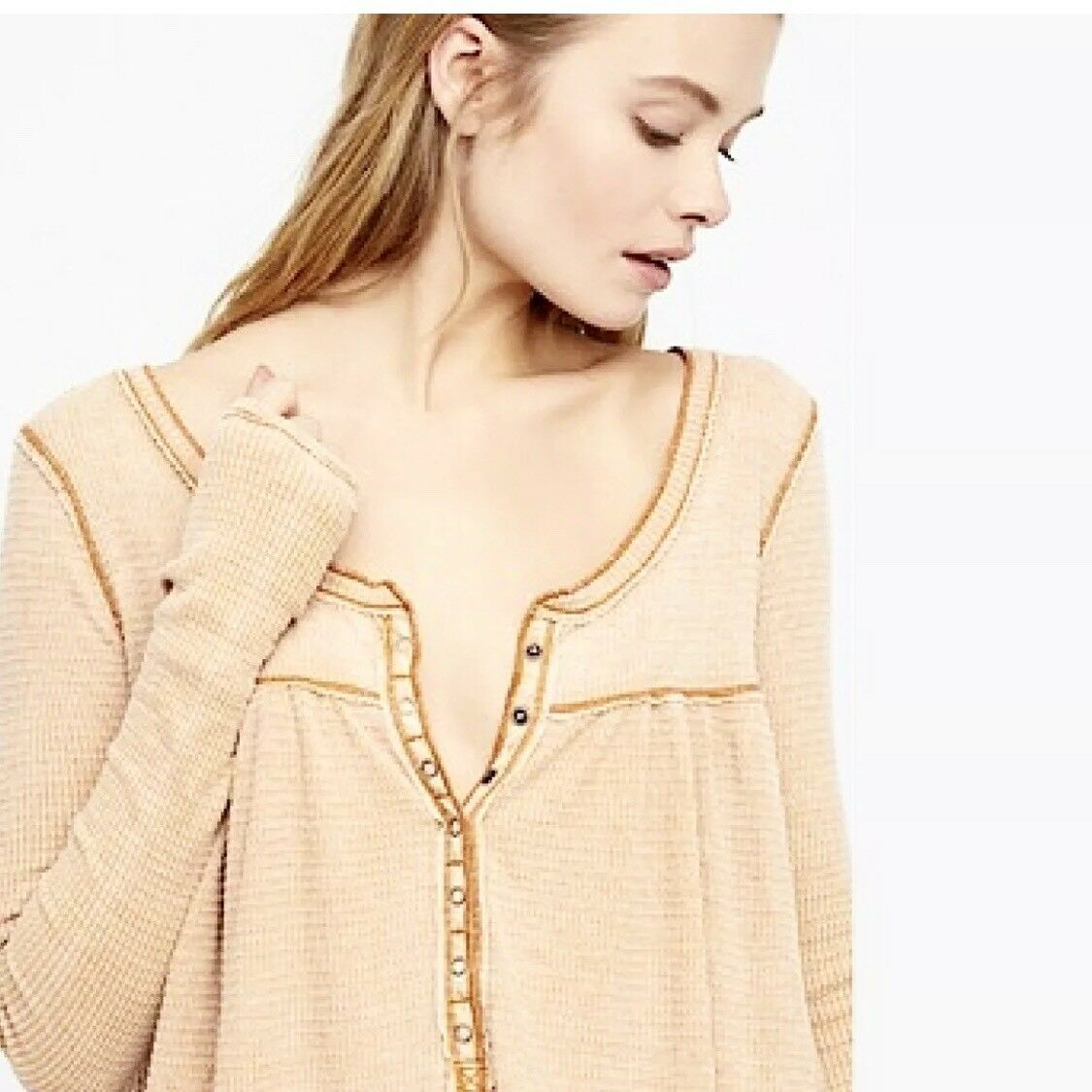 New Free People Kai Henley Thermal Top Gold Large L 68  OB718244 NWT