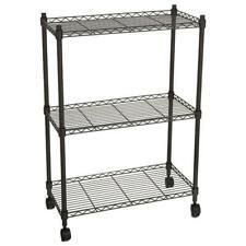 Durable 3 Tier Shelf Storage Organizer Adjustable Wire Metal Shelving Rack Black