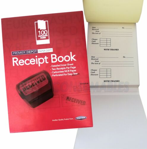 100 Perforated Pages.59881 Premier Duplicate Receipt Book Carbonless NCR Paper