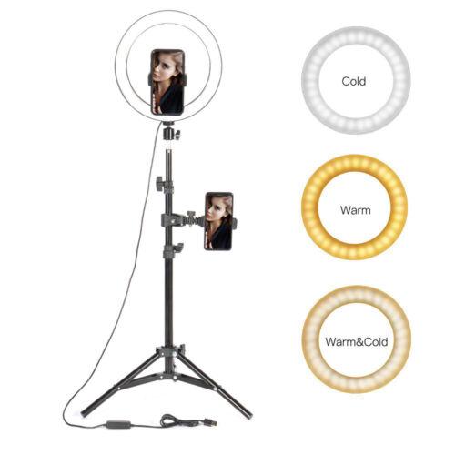 "10/"" Selfie Desktop LED Ring Light with stand phone holder for  vedio Makeup UK"