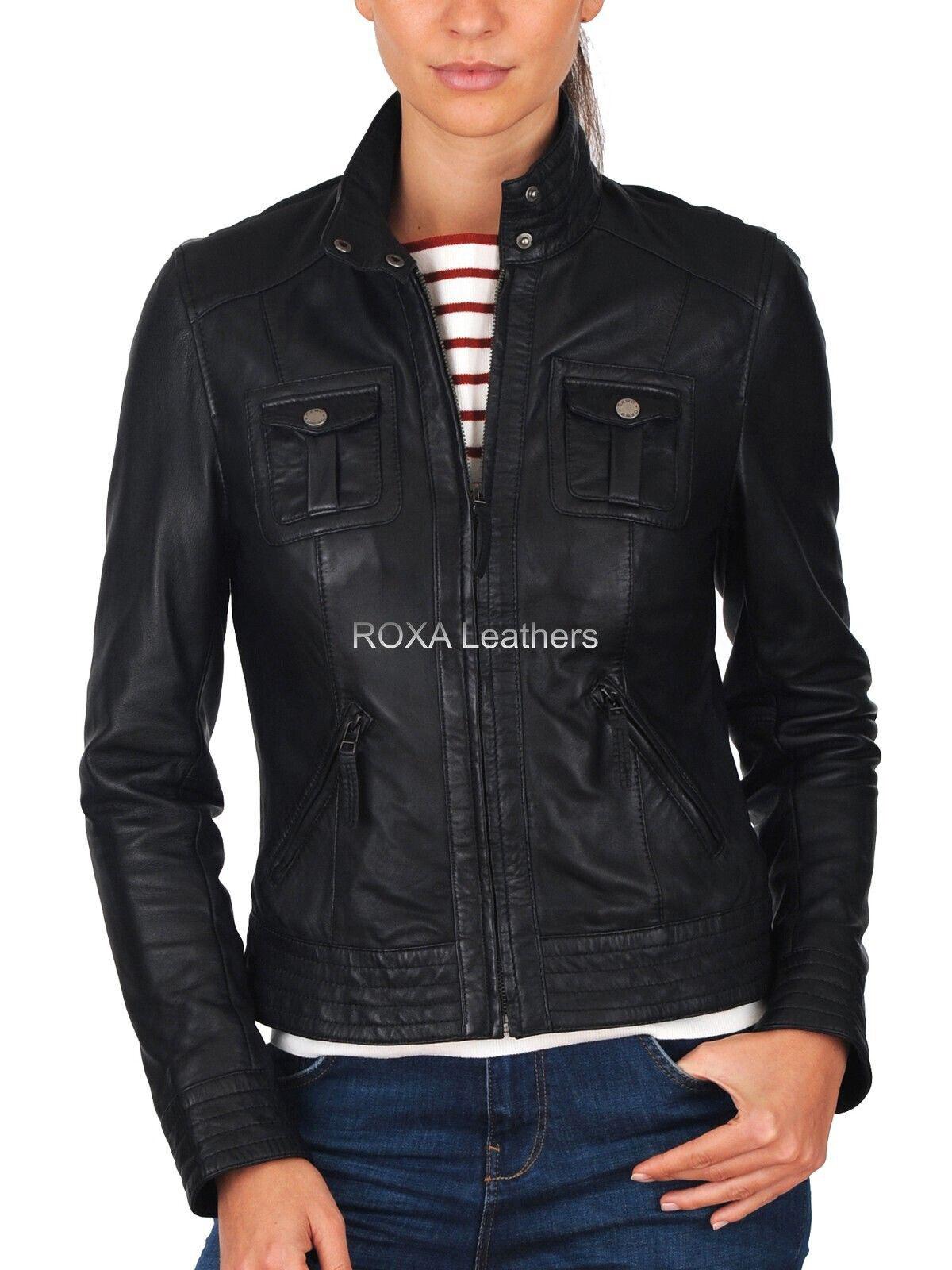 ROXA Women's Black Slim Fit Genuine Lambskin Real Leather Jacket Motorcycle Coat