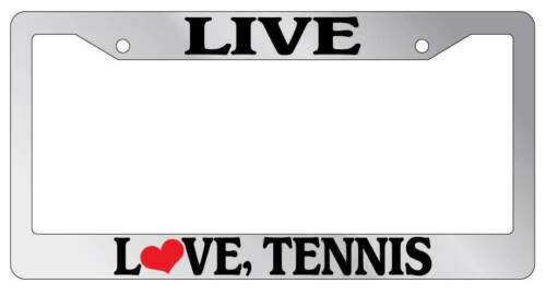 Chrome License Plate Frame Live Love Tennis Auto Accessory Novelty