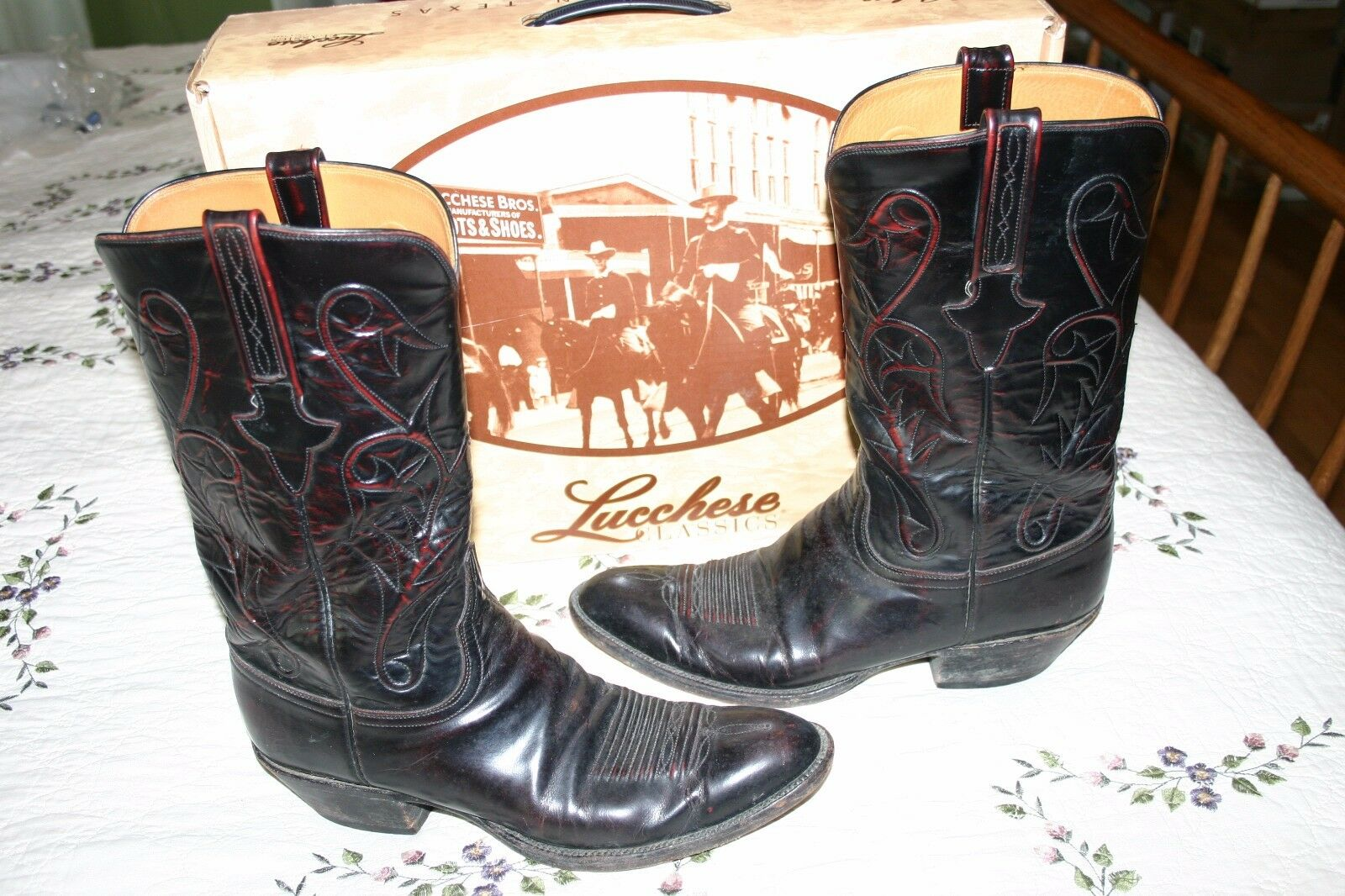 Mens Lucchese Classics Handmade Goat Boots Black Cherry Size 12 A Used In Box