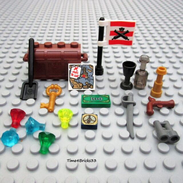 Map Flag Gems Weapon Goblet NEW LEGO Minifigure Pirate Castle Treasure Chest