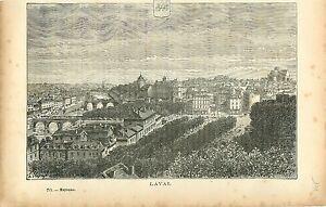 Laval-Mayenne-FRANCE-GRAVURE-ANTIQUE-OLD-PRINT-1882