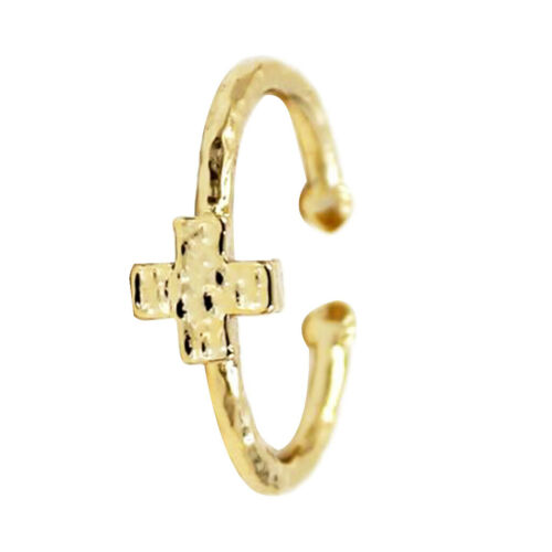 Valentine/'s Gifts Simple Crucifix Cross Finger Ring Adjustable Opening Band