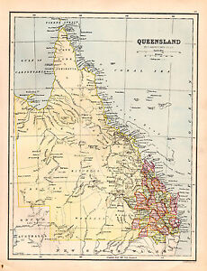 Map Of Queensland Australia.Details About Map Of Queensland Australia Large 1880 Original Antique